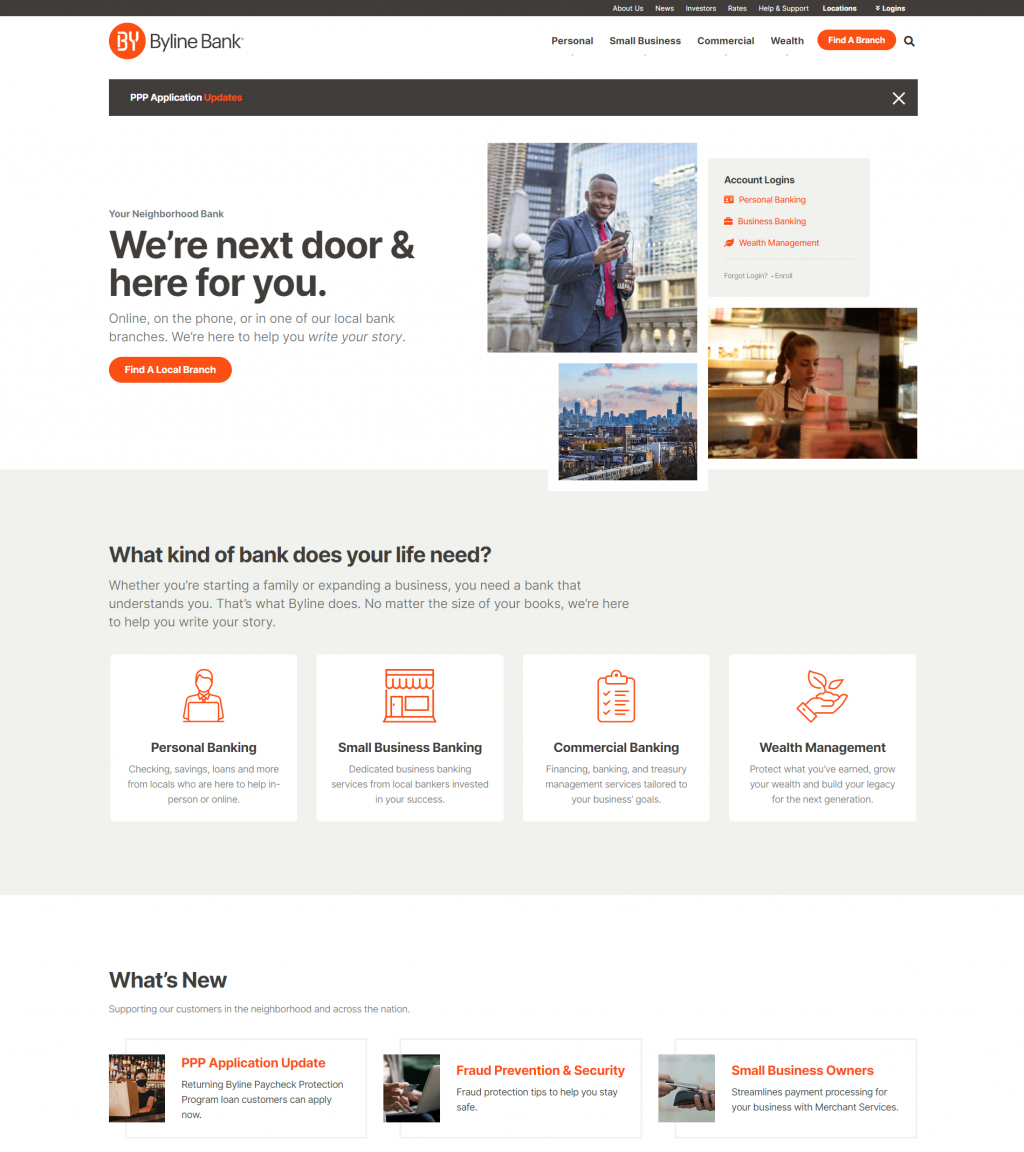Screen grab of Byline Bank's website home page