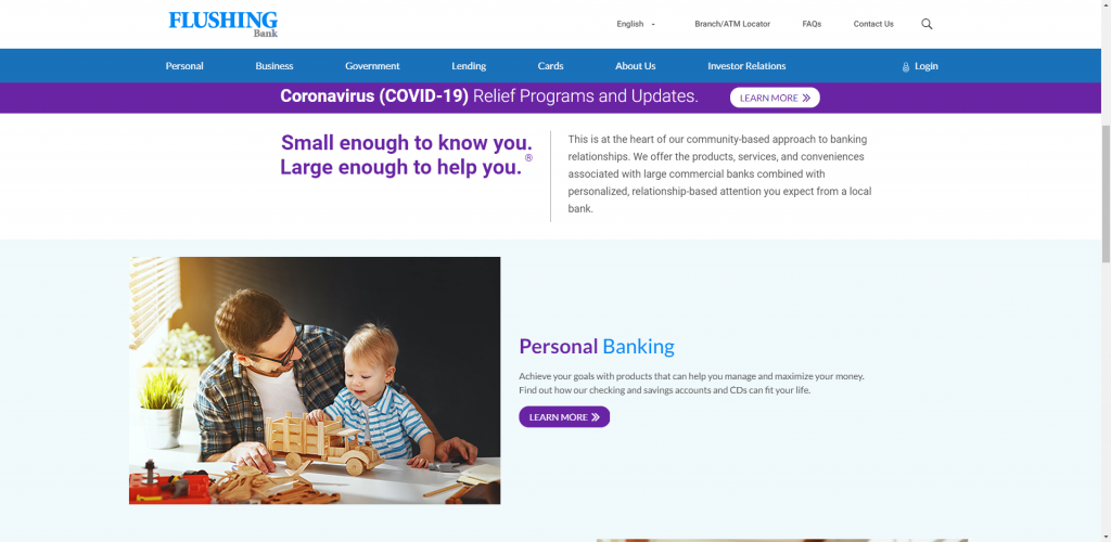 Screenshot of Flushing Bank's website home page