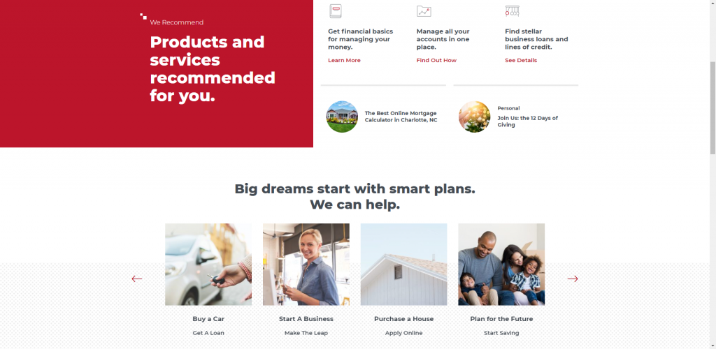 Screenshot of Local First Bank's website home page