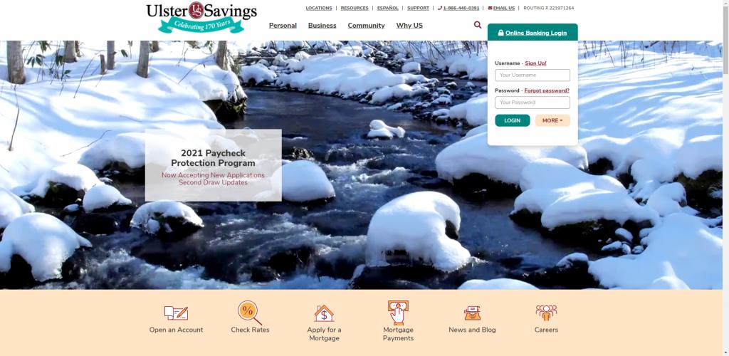 Screenshot of Ulster Savings Bank's home page