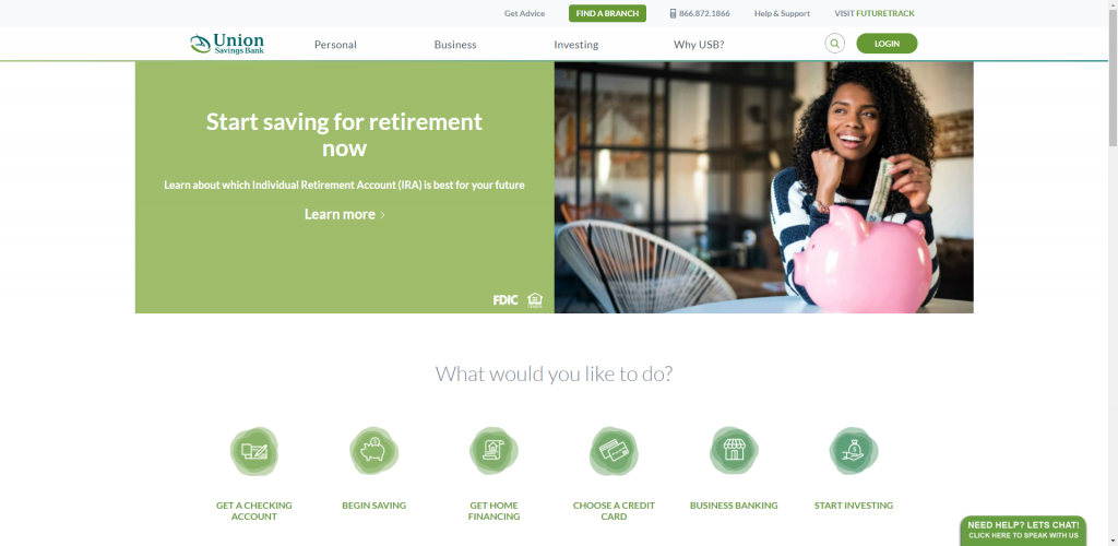 Screenshot of Union Savings Bank's Home Page on their website