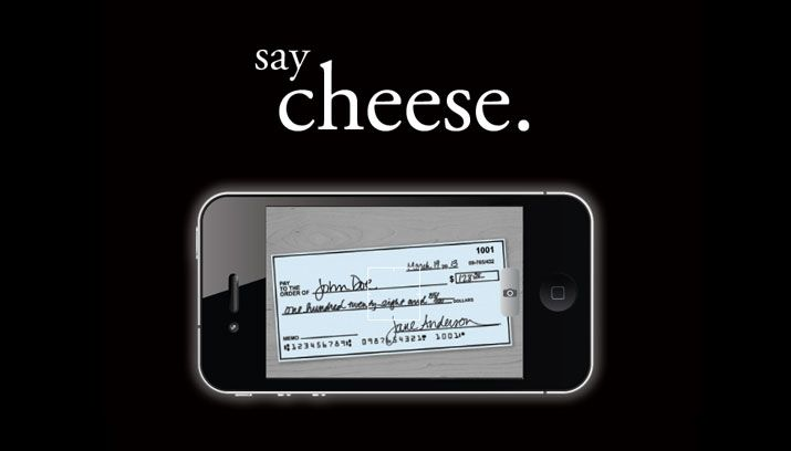 say cheese. - mobile banking app advertisement