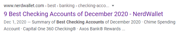 Google Search for Best Checking accounts