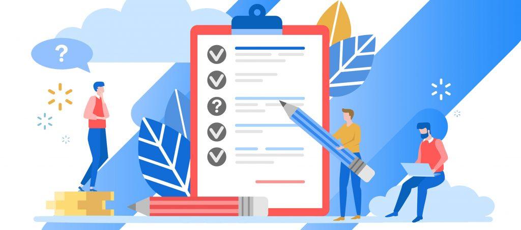 Decorative Image of a cartoon team working through a checklist.