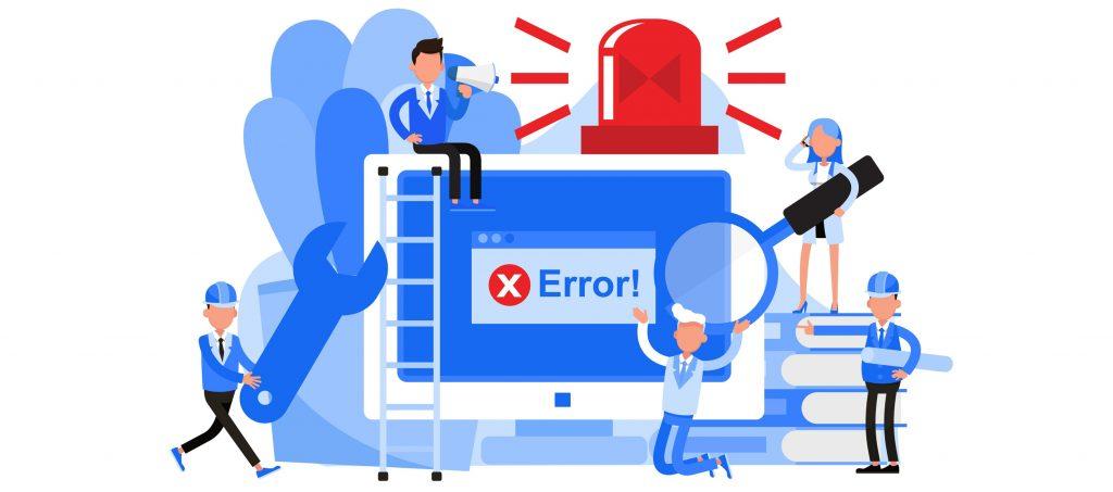 Decorative Image of a cartoon team fixing errors