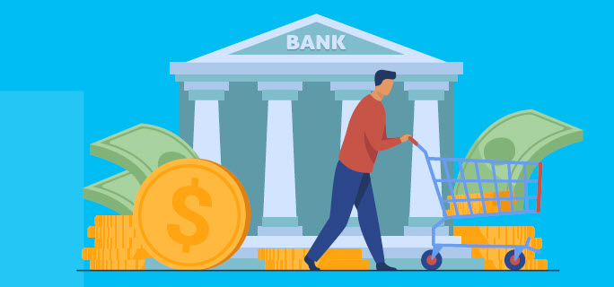illustration of person pushing shopping cart with money in front of bank