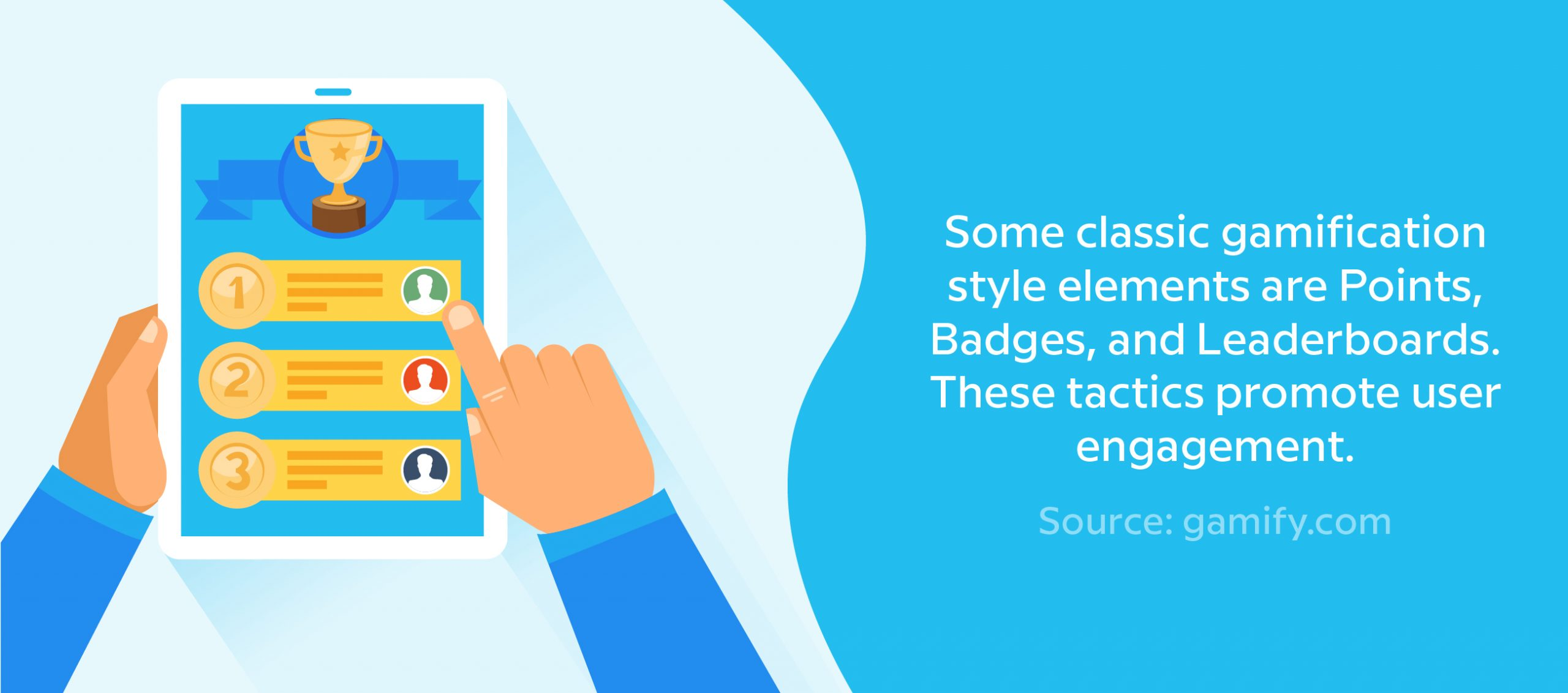 Some classic gamification style elements are Points, Badges, and Leaderboards. These tactics promote user engagement. Source: gamify.com