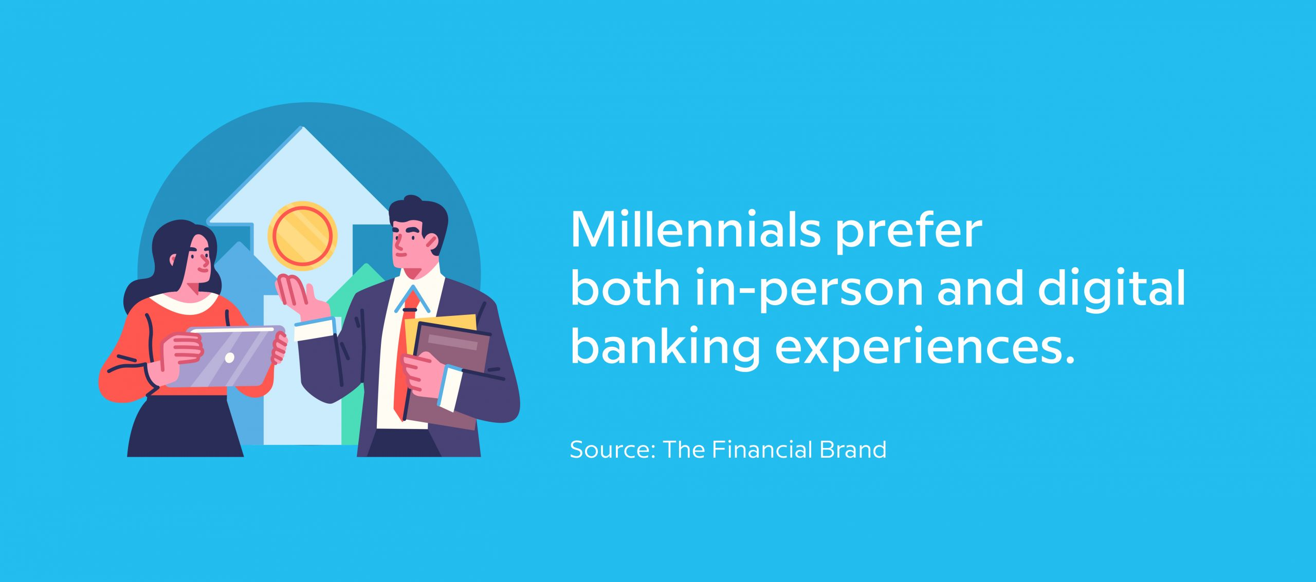 Millennials prefer both in-person and digital banking experiences - Source The Financial Brand - Image of a woman with a tablet talking to a financial advisor